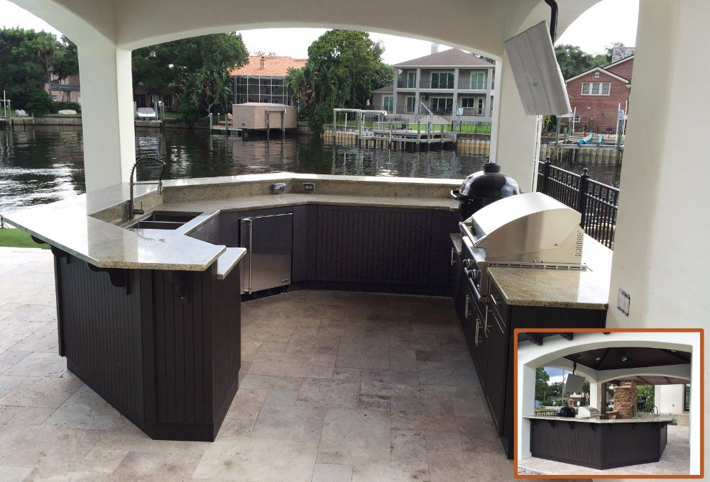 backyard kitchen with stainless grill and island design